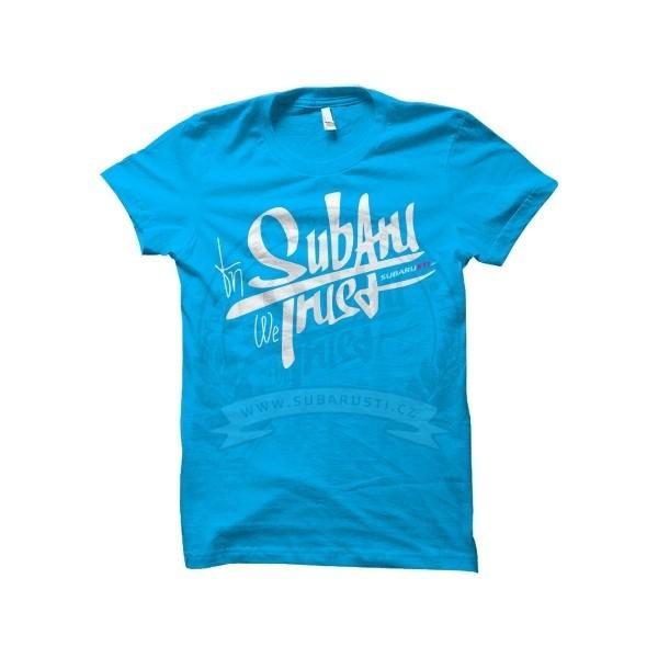 Dámské modré triko In Subaru We Trust