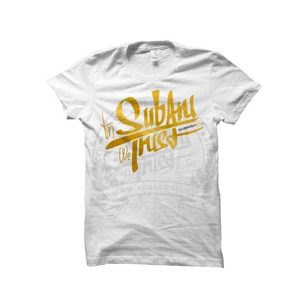 Pánské bílé limitované triko GoldClub In Subaru We Trust