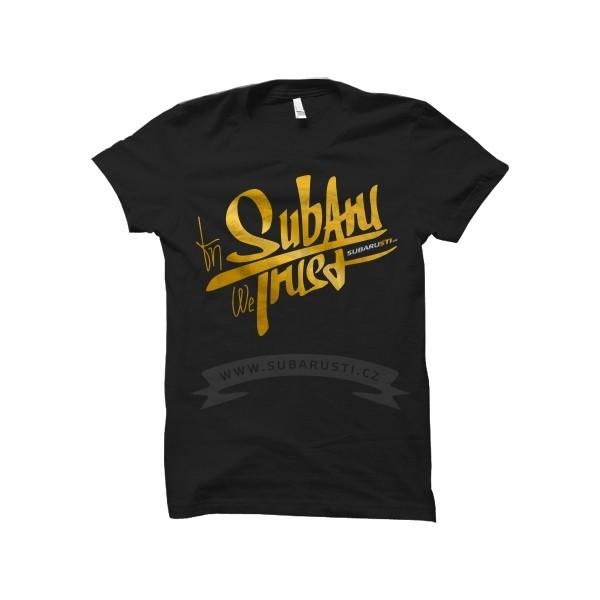 Pánské černé limitované triko GoldClub In Subaru We Trust