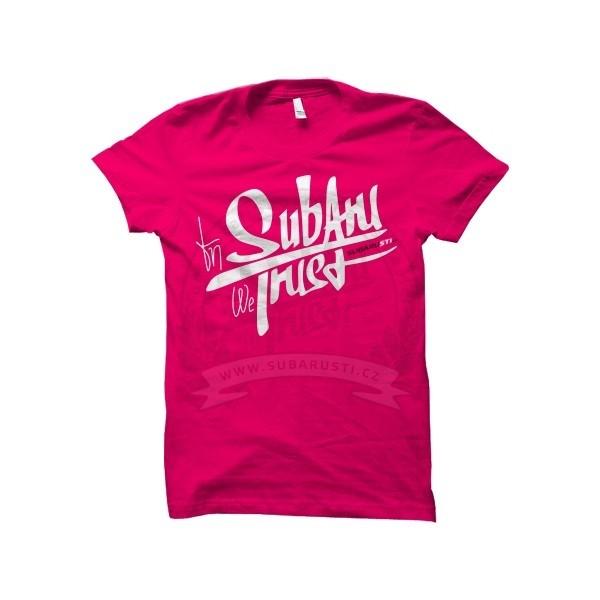 Pánské růžové triko In Subaru We Trust