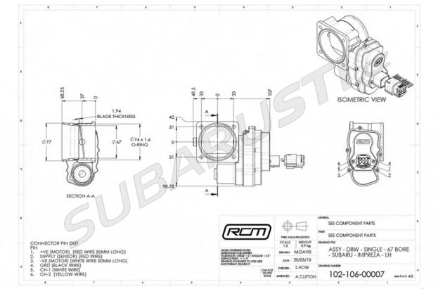Elektronická škrtící klapka RCM 67mm - otočené sání