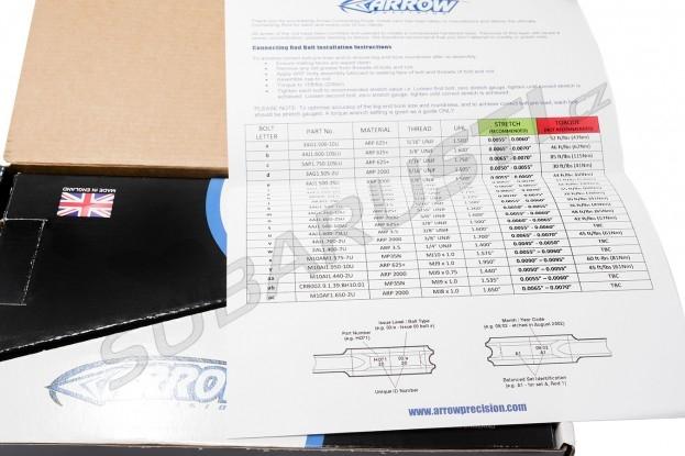 Kované ojnice Arrow Precision ARP2000 Impreza STI 2001+ EJ20/EJ25